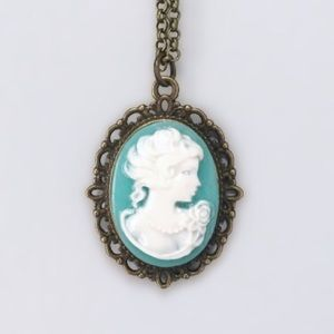 Handmade Victorian Cameo Pendant Necklace Teal